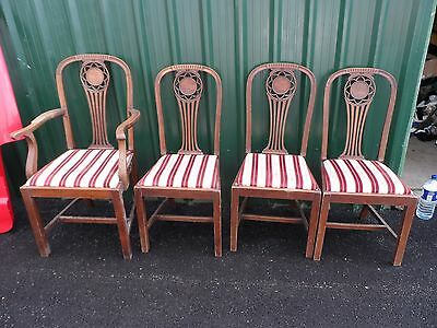 Set Of 4 Oak Mahogany Wooden Arts And Crafts Antique Dining Chairs Carver