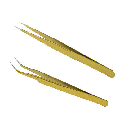MagiDeal Eyelash Extension Straight & Curved Stainless Steel Gold Tweezers