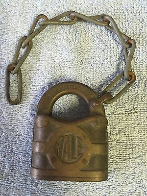 Vintage, Antique Collectible Yale & Towne Brass Padlock Circa 1890's. No Key