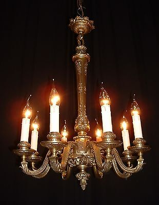 Antique French bronze figural chandelier Lion heads