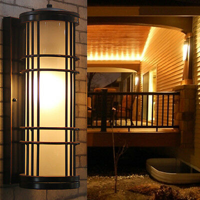 Long antique outdoor wall sconce lamp Balcony big waterproof glass garden light
