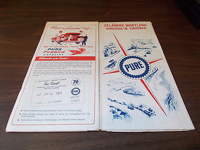 1967 Pure Oil Maryland/Delaware/Virginia/West Virginia Vintage Road Map