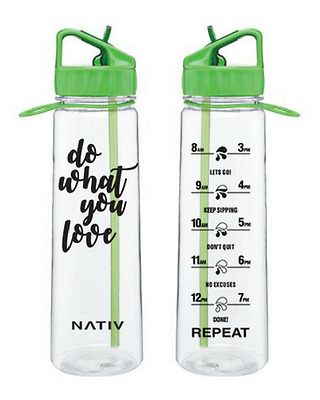 Green NATIV motivational water bottle with times markings, BPA free
