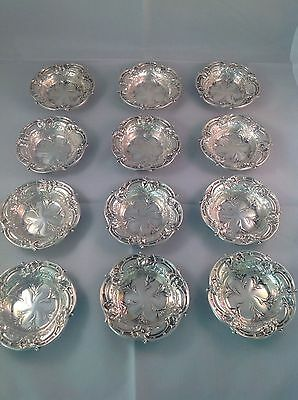 Excellent ~ 12 Sterling Silver Reed & Barton LES SIX FLEURS Nut Cups Dishes