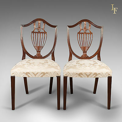 Pair Of Side Chairs, Late C20th, Retailed by Harrods London After Hepplewhite