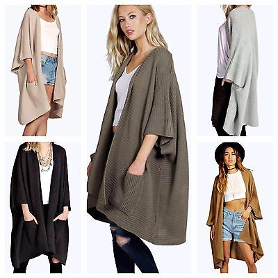 Womens Ladies Casual Soft Knitted Waterfall Cardigan Shawl Pocket Pcape Kimono