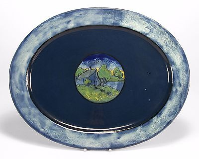 PRP Saturday Evening Girls pottery lg tray house landscape arts & crafts blue