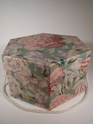 Vintage Medium Size Chintz Rose Fabric Covered Hat Box Legacy Friendly Hearts