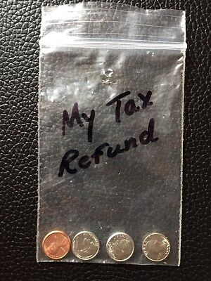 """""""My Tax Refund"""" Gag Coins TINY US Currency 1¢ 5¢ 10¢ & 25¢"""
