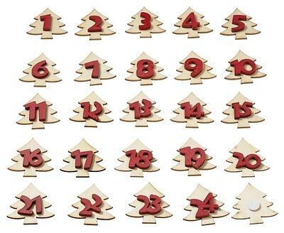 Advent Numbers 1 to 24 Self Adhesive Wooden Fir Christmas Trees by Cranberry