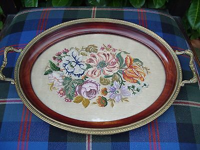 Antique Needlepoint Embroidered Wooden Tray Embroidery Needlework