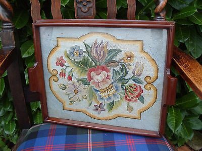 Antique Needlepoint Embroidered Wooden Tray Embroidery Needlework Sewing