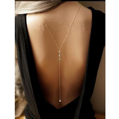 Slave Harness Back Chain Crystal Drop Body Chain Party Backless Dress Necklace