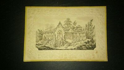 Antique miniature graphite drawing on embossed card