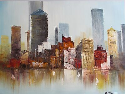 abstract colorful buildings cityscape large oil painting canvas original modern