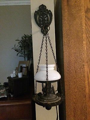 Vintage Wall Mounted Wrought Iron Hanging Sconce, white Globe,electric   1950's