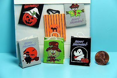 dollhouse miniature halloween bags for decor or trick or treating set of 3