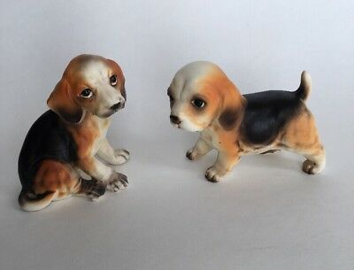 Vintage Ceramic Figures ~ BEAGLE Puppies Made in Japan Foil Tag A73 & A197 Cute!