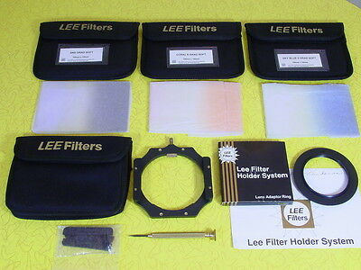 Lee 100Mm Filter Holder System With 72Mm & 77Mm Rings & 3 Different Grad Filters
