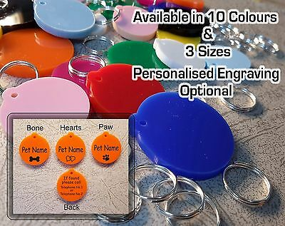 Pet Tags, Dog / Cat Tags, Round, Various Sizes & Colours, Engraving Options