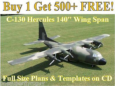 """Hercules C-130 140"""" WS Giant Scale RC Airplane Plans & Templates on CD"""