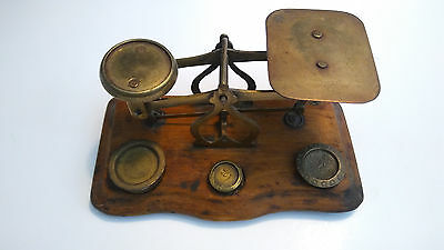 Antique Postal Scale -  (Possibly English) -   with 3-ea   Brass Weights