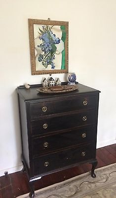 Antique Ebony Black Painted Chest Of Drawers Brass Circular Drop Handles unique