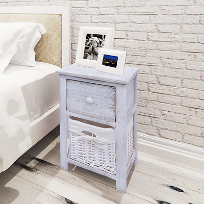2pcs White Shabby Chic Bedside Table Storage Unit Cabinet Wicker Basket Drawer
