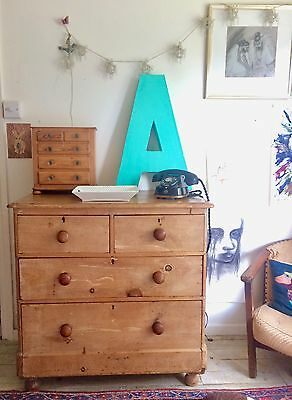Antique Vintage Pine Chest Of Drawers Solid Wooden Rustic County Farm House
