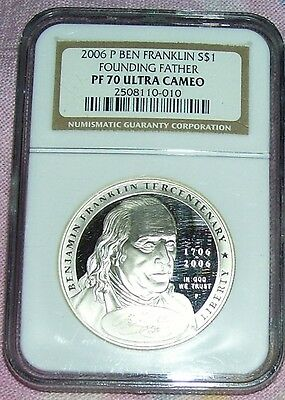 2006-P Ben Franklin Founding Father Pf70 Ultra Cameo Silver Dollar Ngc