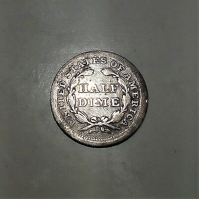 FREE POST - USA 1856 Silver Seated Liberty Half Dime. KM# 62.