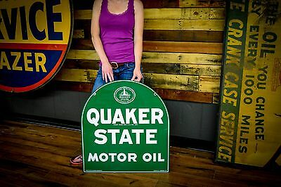 ORIGINAL QUAKER STATE OIL ADVERTISING SIGN GAS STATION 1960's CLEAN Auto Dealer