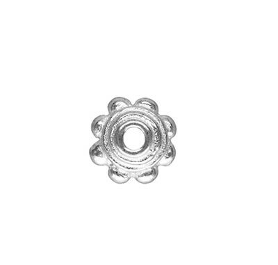 925 Sterling Silver 4.5mm Flower Bead Caps 10pcs  #5405-8