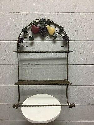 Wrought Iron Paper Towel Holder With Shelfs And Fruit Decor 26 H X 18 W