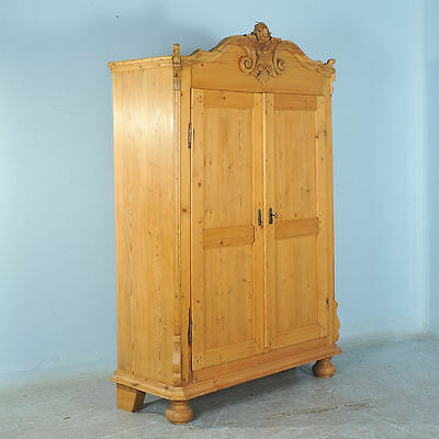 Carved 19th Century Antique Pine Armoire From Lithuania
