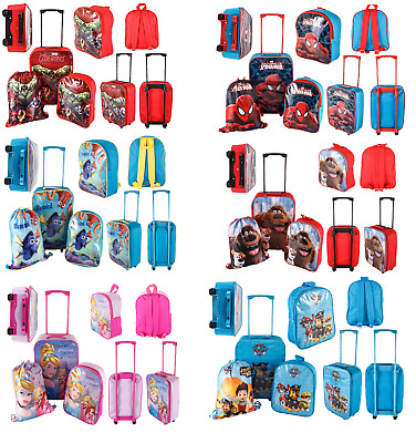New Children 3 & 4 Piece Suitcase Trolley Set With Backpack & Shoe Bag