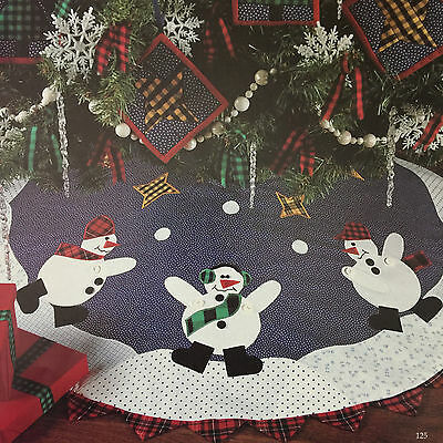 Cozy Snowman Christmas Tree Skirt, Wall,ornaments,pillows Vintage Quilt Pattern