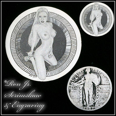 Engraved Nude Silver Standing Liberty Quarter Ron Jr. Scrimshaw & Engraving #97