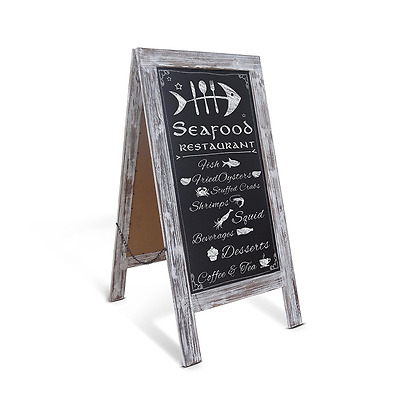 Rustic Vintage Whitewashed A-Frame Chalkboard / Sidewalk Chalkboard Sign / Large