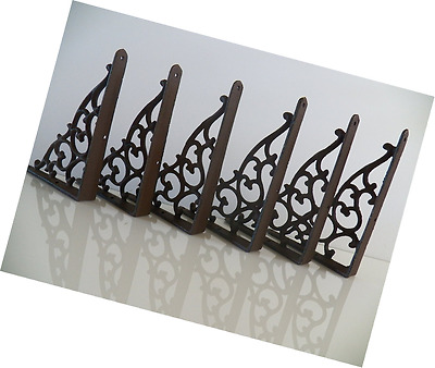 "Lot/Set of 6 Antique-Style Cast Iron SMALL 5 1/4"" x 7"" SHELF BRACKETS Hangers"