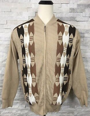 Sweater Jacket Stacy Adams Beige w Geometric Pattern Mens Size Large L Zipper C