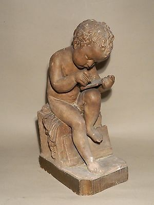 Antique French terracotta putti cherub, 19th C.