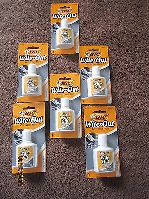 6x BIC Wite Out Quick Dry Correction Fluid White Out Foam Brush .7oz