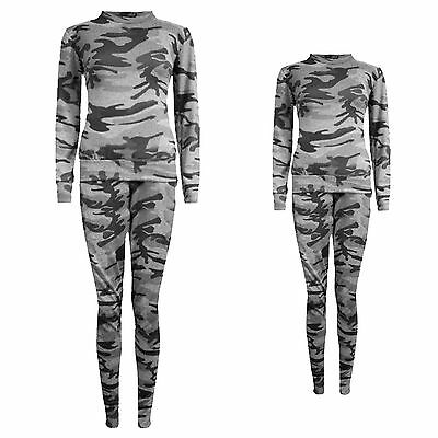New Womens Ladies Camou Printed Tracksuit Long Sleeve 2 Piece Lounge Set Jogsuit