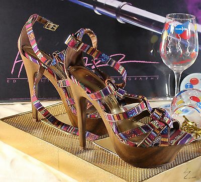 JUST FABULOUS Platform  Peep Toe Heels NEW!  Multi Colored Wooden Heels - S 8.5