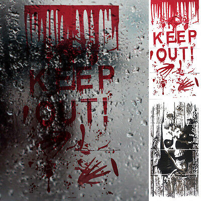 Halloween Scary Window Stickers Bloodstain Hands & Skull Party Decorations