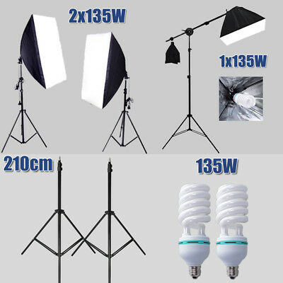 Photo Studio Lamp Softbox Continuous Video 135W Lighting Light Boom Arm Stand