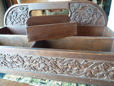 Antique Carved Wood Caddy Sewing Printers Breton French English Initialed