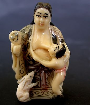 Japanese ivory colored  netsuke-Geisha Mother Breast feeds Baby,White Rabbit