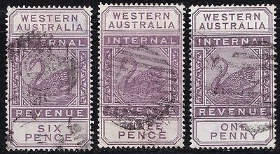 Stamps Western Australia - Internal Revenue Mixed Lot x 3 - Used.